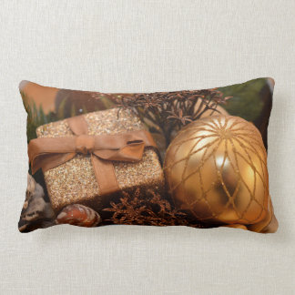 Gold Bauble and Christmas Present Lumbar Pillow