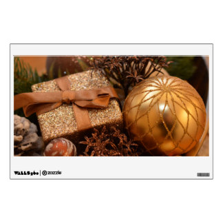 Gold Bauble and Christmas Present Wall Sticker