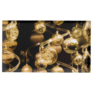 gold baubles and spiral pattern place card holder