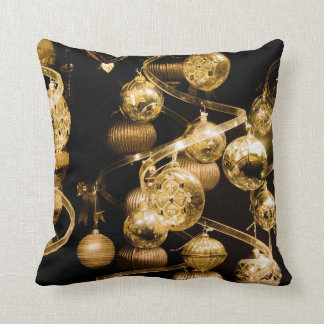 Gold Baubles and Spiral Pattern Throw Pillow