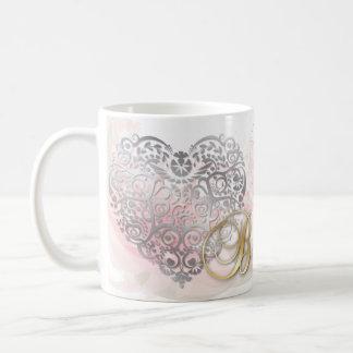 "Gold ""Be Mine""-Silver Filigree Heart Valentine Mug"