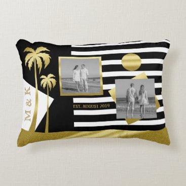 Beach Themed Gold Beach Black Stripes Instagram Photos Monogram Accent Pillow
