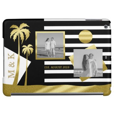 Beach Themed Gold Beach Black Stripes Instagram Photos Monogram iPad Air Cases
