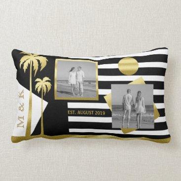 Beach Themed Gold Beach Black Stripes Instagram Photos Monogram Lumbar Pillow