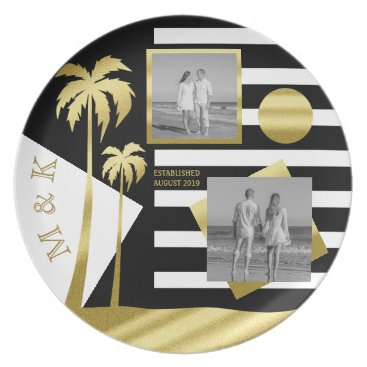 Beach Themed Gold Beach Black Stripes Instagram Photos Monogram Melamine Plate