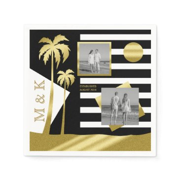 Beach Themed Gold Beach Black Stripes Instagram Photos Monogram Napkin