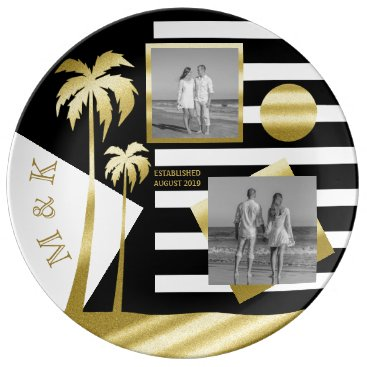 Beach Themed Gold Beach Black Stripes Instagram Photos Monogram Plate