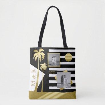 Beach Themed Gold Beach Black Stripes Instagram Photos Monogram Tote Bag