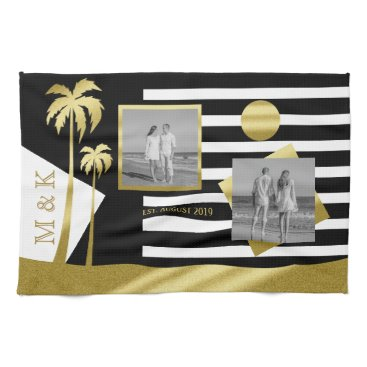 Beach Themed Gold Beach Black Stripes Instagram Photos Monogram Towel