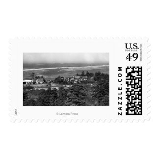 Gold Beach, Oregon Town View and Sunset Inn Stamp