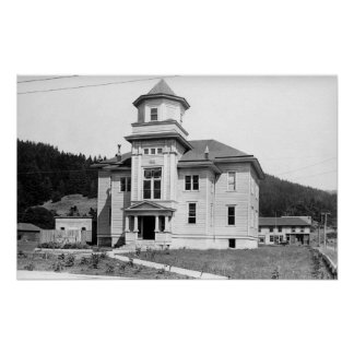 Gold Beach, Oregon View of Court House Photograp Poster