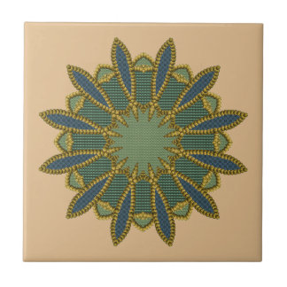 Gold Beaded Patchwork Motif Ceramic Tile