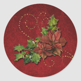 Gold Beaded Swirls and Christmas Floral Classic Round Sticker