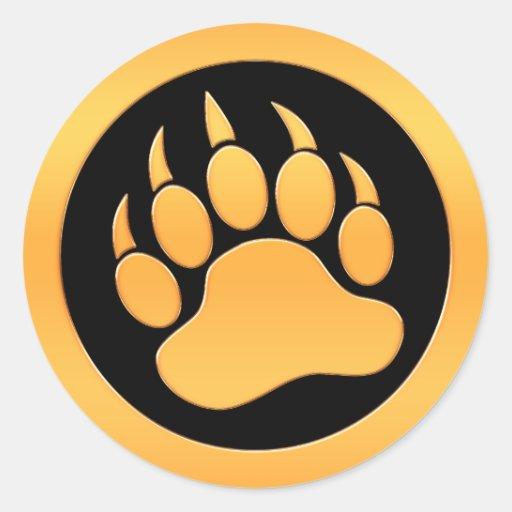 Gold Bear Paw Round Sticker