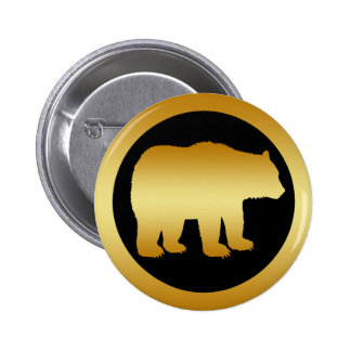 GOLD BEAR PINBACK BUTTON