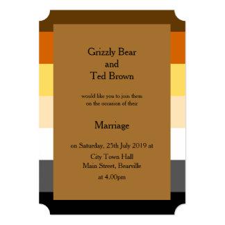 Gold Bear Pride Wedding Invitation
