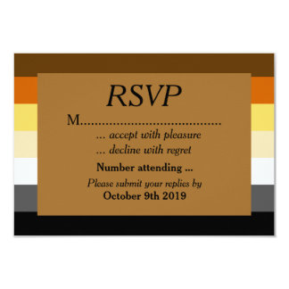 Gold Bear Pride Wedding RSVP for Gay Grooms 3.5x5 Paper Invitation Card
