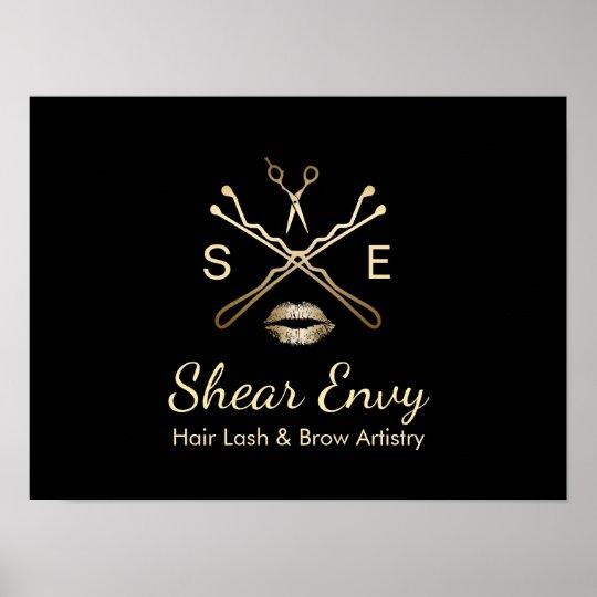 Gold beauty salon logo makeup artist hair stylist poster zazzle gold beauty salon logo makeup artist hair stylist poster altavistaventures Images