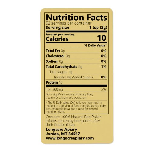Gold Bee Pollen Nutrition Facts Product Label