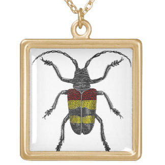 Gold Beetle Square Necklace