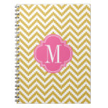 Gold Beige Chevron Aztec Tribal Personalized Spiral Note Books