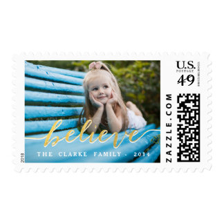 Gold Believe 2014 Holiday Photo Postage