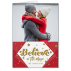 Gold Believe 4 Photo Collage | Holiday Photo Card