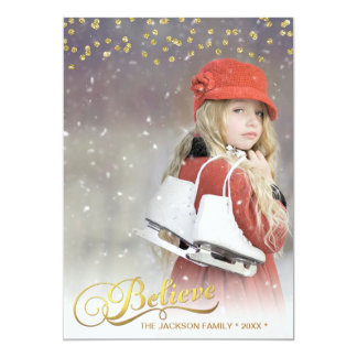 Gold BELIEVE Faux Glitter Confetti Holiday Photo Card