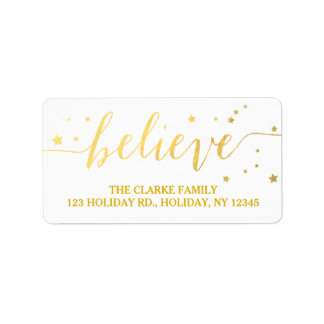 Gold Believe Handwriting | Holiday Address Label