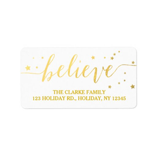 Gold Believe Handwriting | Holiday Address Label