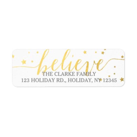 gold believe handwriting holiday address label zazzle com