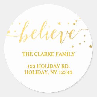 Gold Believe Handwriting | Holiday Address Sticker