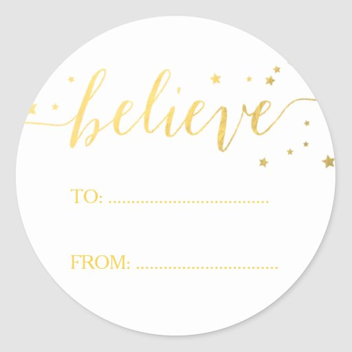 Gold Believe Handwriting Holiday Gift Tag Classic Round Sticker