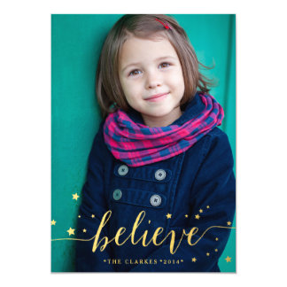 "Gold Believe Handwriting   Holiday Photo Card 5"" X 7"" Invitation Card"
