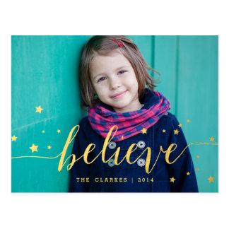 Gold Believe Handwriting | Holiday Photo Postcard