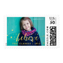 Gold Believe Handwriting | Holiday Postage