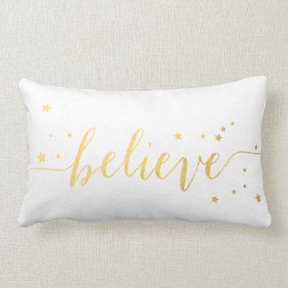 Gold Believe Handwriting | Holiday Throw Lumbar Pillow