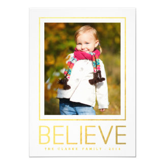 """Gold Believe   Holiday Photo Card 5"""" X 7"""" Invitation Card"""