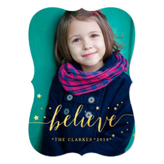 Gold Believe Stars | Holiday Photo Card