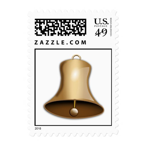 Gold Bell Christmas Postage Stamps