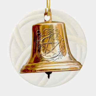 Gold Bell with Pentacle & Wreath Double-Sided Ceramic Round Christmas Ornament