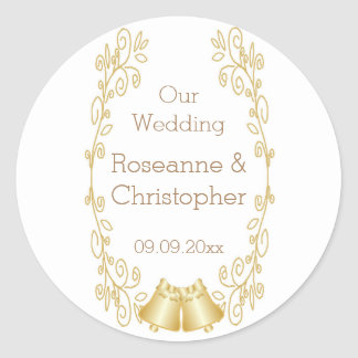 Gold Bells Damask Wedding Classic Round Sticker