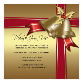 Gold Bells, Holly, Red Ribbon Corporate Party Card
