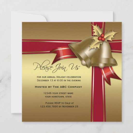Gold Bells, Holly, Red Ribbon Corporate Party Invitation