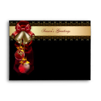 Gold Bells Red & Black Christmas Holiday Envelopes