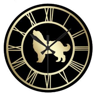 Gold Bernese Mountain Dog Roman Numeral Large Clock