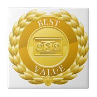 Gold Best Value Winner Laurel Wreath Medal Ceramic Tile