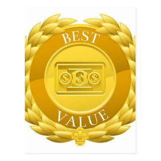 Gold Best Value Winner Laurel Wreath Medal Postcard