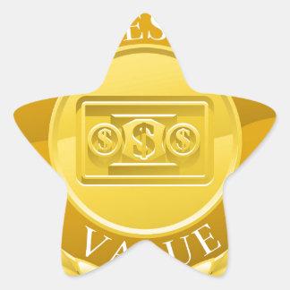 Gold Best Value Winner Laurel Wreath Medal Star Sticker