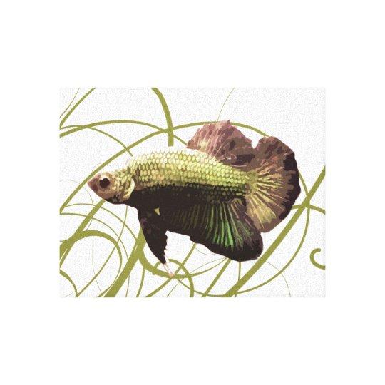 Gold Betta Fighting Fish Canvas Print
